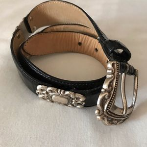 Fossil Croco Embossed Black Leather Belt Size S